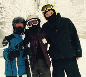 Stacey, Doug and Griffin on the slopes